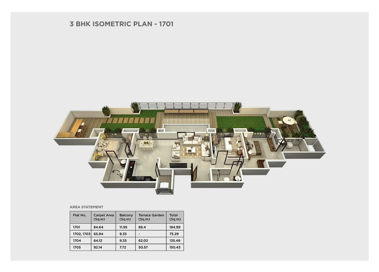 3 bhk isometric – 1701