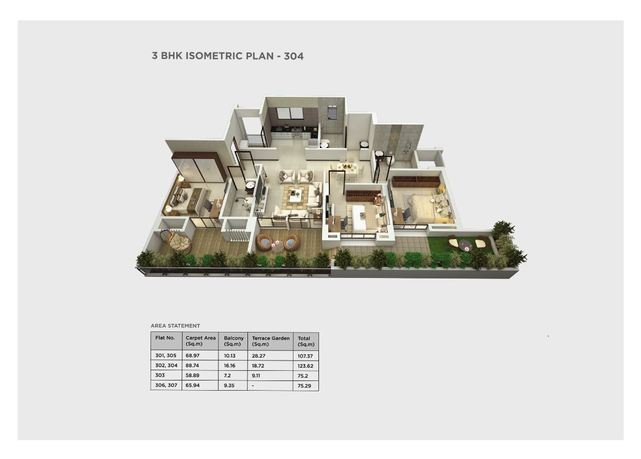 3 bhk isometric – 304