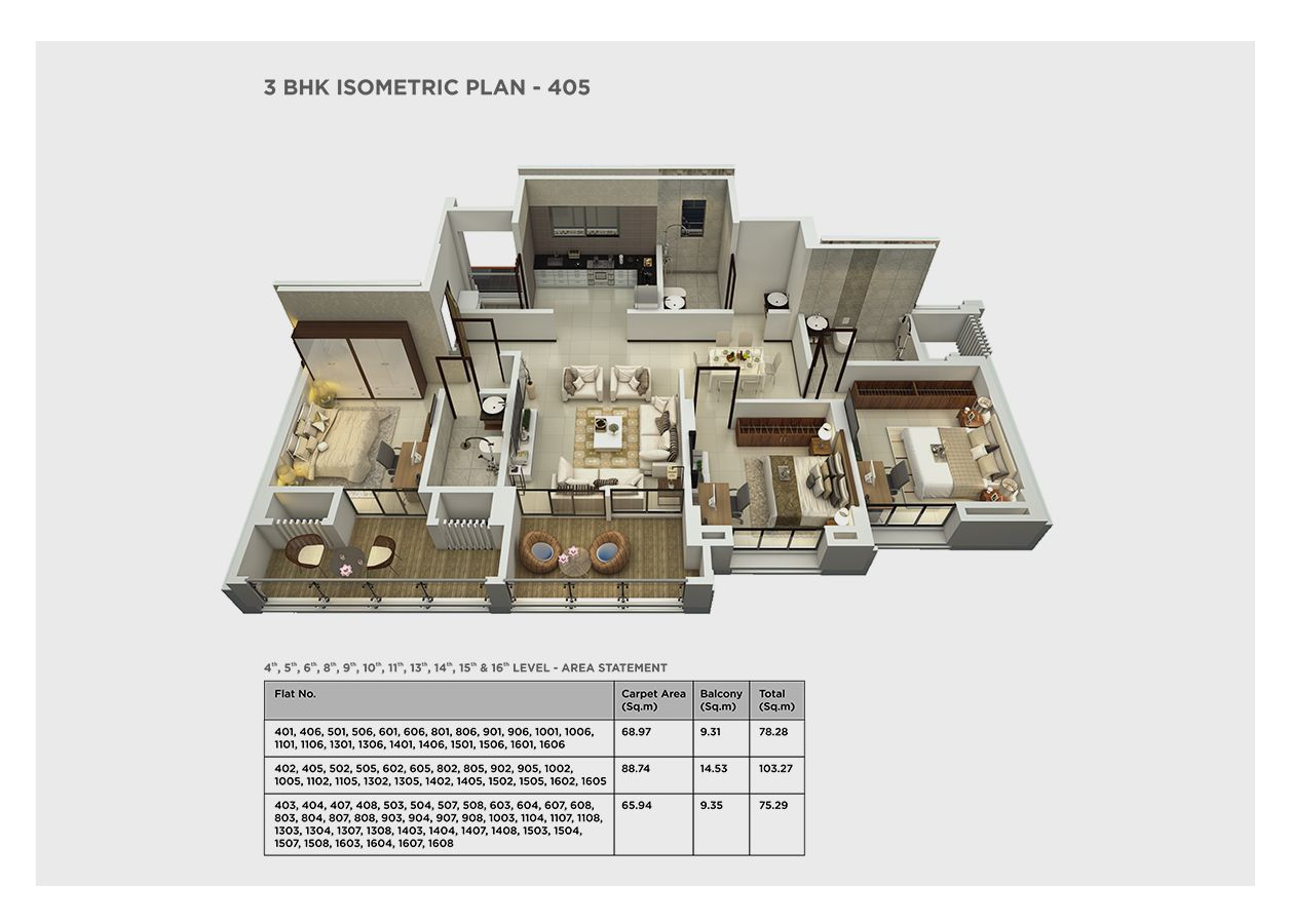 3 bhk isometric – 405