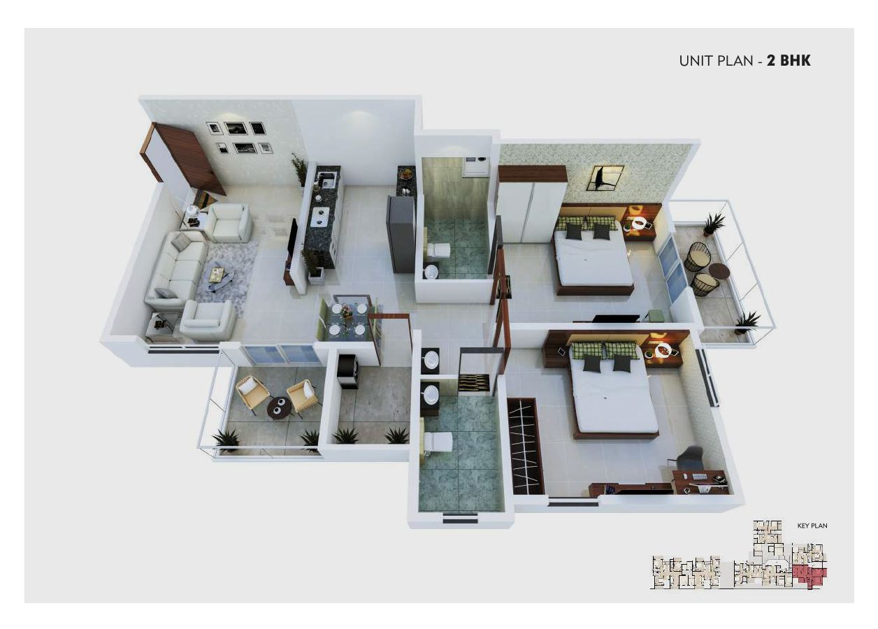 unit plan – 2 bhk  – option a