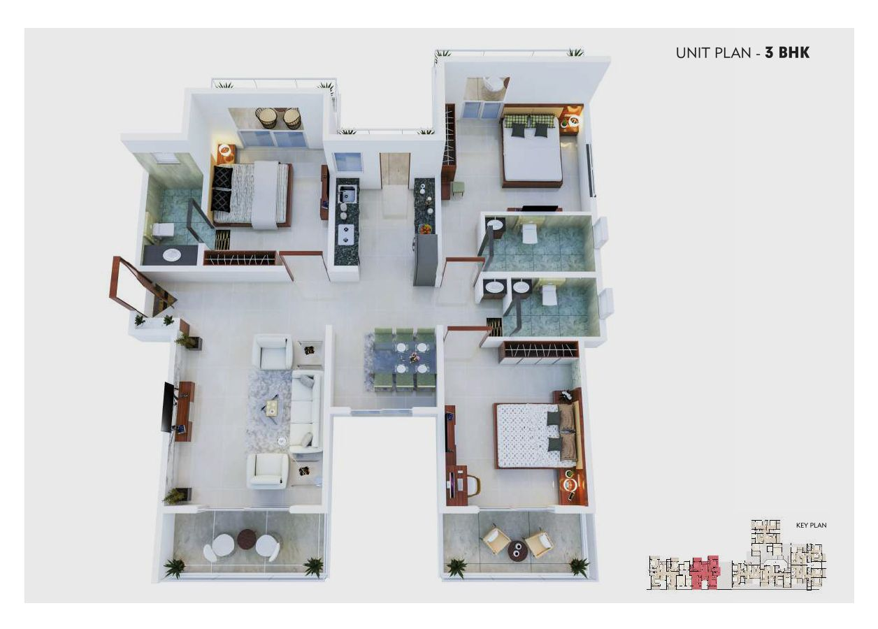 unit plan – 3bhk