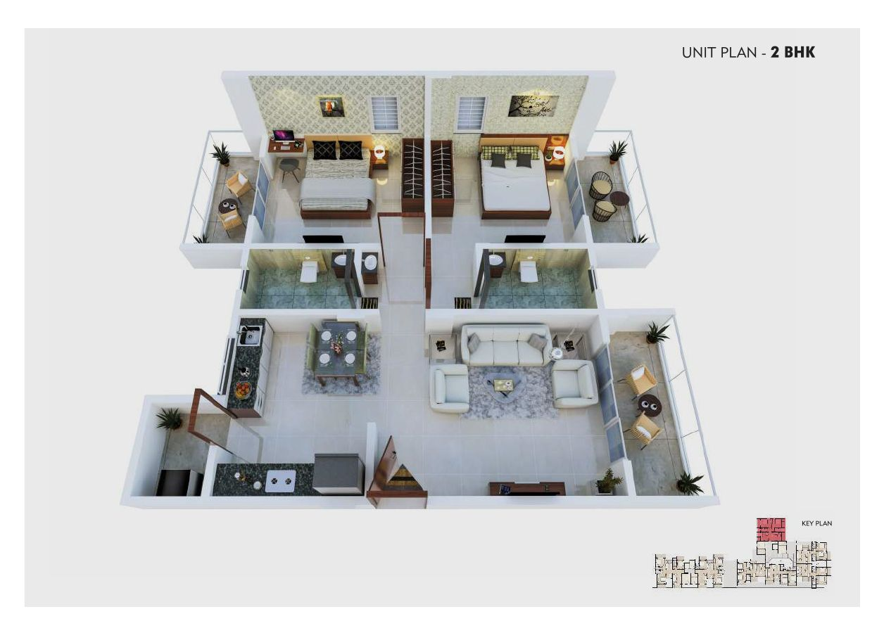 unit plan – 2 bhk  – option c